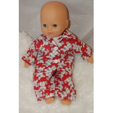 12-14inch Dolls Pyjamas - Red Teddies