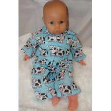 16-18inch Dolls Pyjamas - Blue Cows