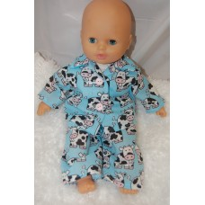12-14inch Dolls Pyjamas - Blue Cows