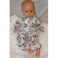 16-18inch Dolls Pyjamas - White Cows