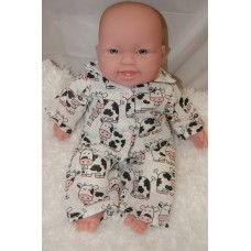 12-14inch Dolls Pyjamas - White Cows