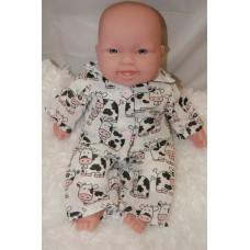 12-14inch Dolls Pyjamas - White Cows