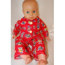 12-14inch Dolls Pyjamas - Red Robots