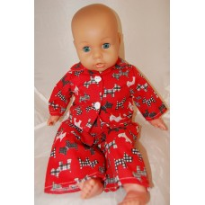 12-14inch Dolls Pyjamas - Red with Black Scotty Dogs