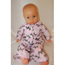 16-18inch Dolls Pyjamas - Pink with Black Scotty Dogs