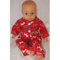 16-18inch Dolls Pyjamas - Red with Black Scotty Dogs