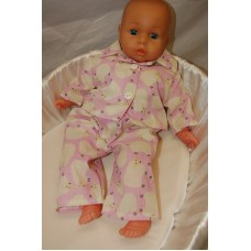 12-14inch Dolls Pyjamas - Pink Counting Sheep