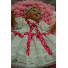 0-3months/16inch doll - White with Pink spot ribbon trim - 3pce Dress Set