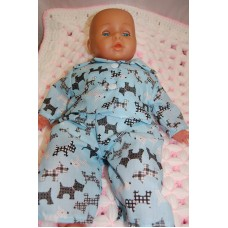 16-18inch Dolls Pyjamas - Blue with Black Scotty Dogs