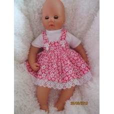 16-18inch Cerise Pink/White  Flower Pinafore Dress and top