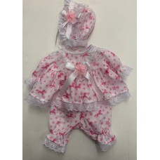 White/Pink Unicorn Dress & Pants Set - Premature/14inch doll