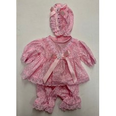 Pink Fleur Dress & Pants Set - Premature/14inch doll
