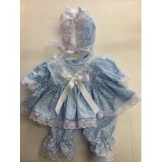Blue Fleur Dress & Pants Set - Premature/14inch doll