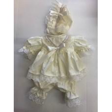 Cream Broderie Cotton Dress & Pants Set - Premature/14inch doll