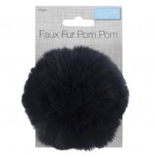 Faux Fur Pom Pom Navy
