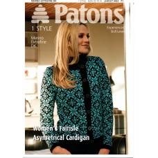 Patons 4023 Fairisle Asymetrical Cardigan