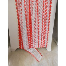 Knit in Lace - White/red